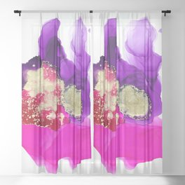 The lady ghosts (alcohol ink abstract in pink purple and gold) Sheer Curtain