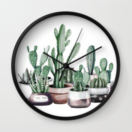 Cactus + Succulents Rose Gold Pattern by Nature Magick Wall Clock