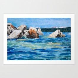 Buck's Beach Boulders Art Print