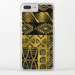 Ethnic African Golden Pattern on black Clear iPhone Case