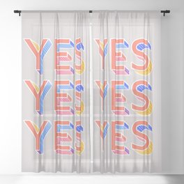 YES - typography Sheer Curtain
