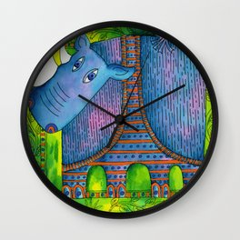 Patterned Rhino Wall Clock