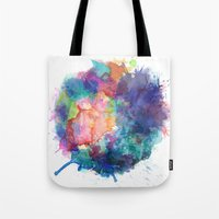 water colour Tote Bags featuring Water Colour Kaleidoscope by a little Piece of Pie