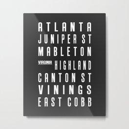 Atlanta City Subway Sign Urban Art CSS034 Metal Print