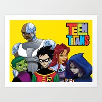 teen titans Art Prints featuring Teen Titans by Paige Thulin