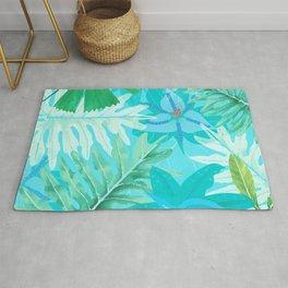 My blue abstract Aloha Tropical Flower Jungle Garden Rug