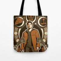 dean winchester Tote Bags featuring Dean Winchester Nouveau by Tracey Gurney