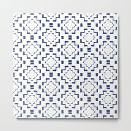 Rough Geometric Aztec Print - Navy Blue Metal Print