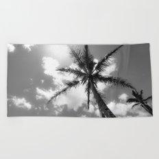 Tropical Palm Trees Black and White Beach Towel