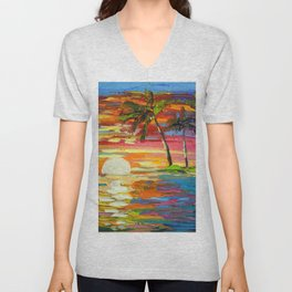 Dawn at the palm trees Unisex V-Neck