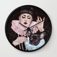 dress Wall Clocks featuring Dress Up by Helen Green