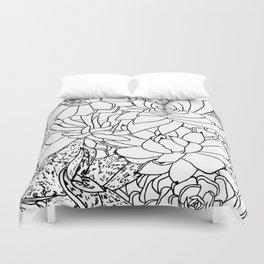 Succulent Line Drawing Duvet Cover