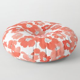Camellia Flowers in Red Floor Pillow