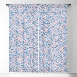 Scandinavian Waves Pattern Blue Blackout Curtain
