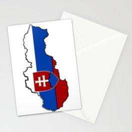 Slovakia Map with Slovakian Flag Stationery Cards