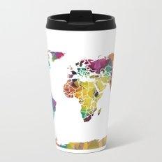 Geometric World Map Metal Travel Mug