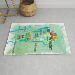 USA Vermont State Travel Poster Map with Touristic Highlights Rug
