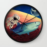shark Wall Clocks featuring Shark by Cs025