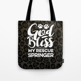 God Bless My Rescue Springer Leopard Print Dog Paw Pattern Gift Tote Bag