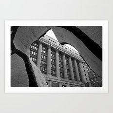 Looking Through A Building Black and White Photo, Chicago Architecture Art Print