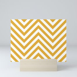 Mustard and white chevron pattern Mini Art Print