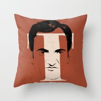 tarantino Throw Pillows featuring T is for Tarantino by Albert Blanchet