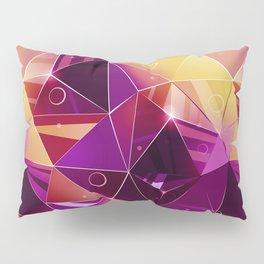 Polygonal pattern.Black, red, yellow, orange background. Pillow Sham