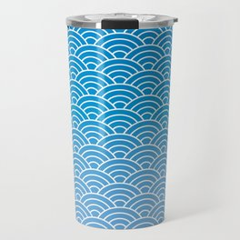 Seigaiha Gradient Blue Travel Mug