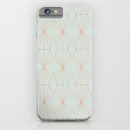 Geometry art decó in blue and orange iPhone Case