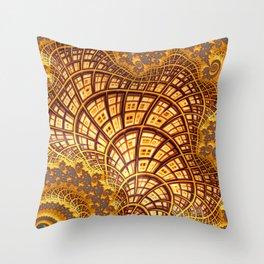 Fractal Gold Throw Pillow