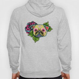Pug in Fawn - Day of the Dead Sugar Skull Dog Hoody