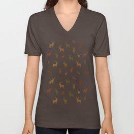 Deer Silhouette Pattern. Late autumn, earth tones. Unisex V-Neck