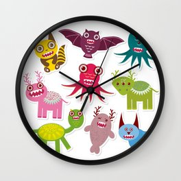 Sticker set Funny monsters collection on white background Wall Clock