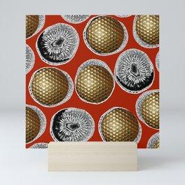 RED, WHITE & GOLD Mini Art Print