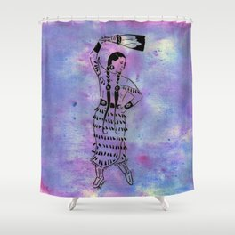 Idle No More  (Cree jingle dancer with feather fan) Shower Curtain