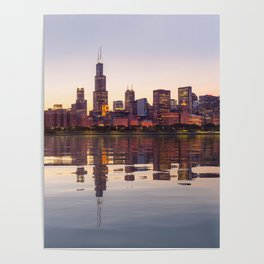Panorama of the City skyline of Chicago Poster