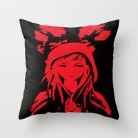 red riding hood Throw Pillows featuring Miss Red riding hood  by Sammycrafts