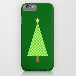 Lime Green Polka Dot Modern Christmas Tree iPhone Case