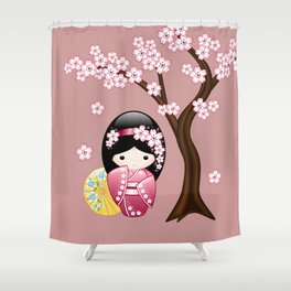 Japanese Spring Kokeshi Doll on Pink Shower Curtain