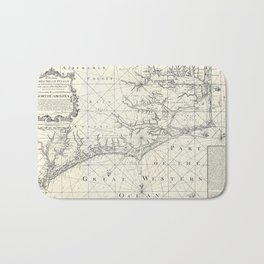 Vintage Map of Eastern North Carolina (1738) Bath Mat