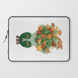 Marigolds in cat face vase  Laptop Sleeve