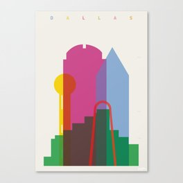 Shapes of Dallas. Accurate to scale. Canvas Print