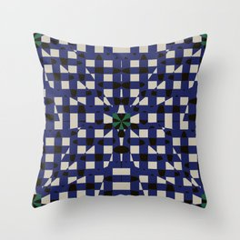 Shatter Gingham (Blue) Throw Pillow