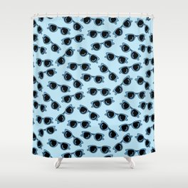 blue sunglasses summer print Shower Curtain
