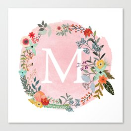 Flower Wreath with Personalized Monogram Initial Letter M on Pink Watercolor Paper Texture Artwork Canvas Print