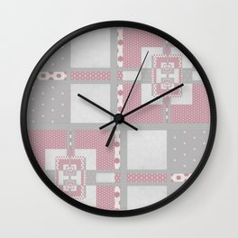 Grey Pink Multi PatchWork Geometrial Pattern Wall Clock