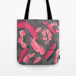 Red Linear Tree Tote Bag