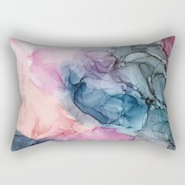 Heavenly Pastels: Original Abstract Ink Painting Rectangular Pillow