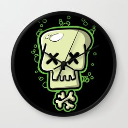 Toxic skull and crossbones green Wall Clock