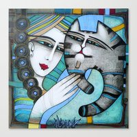 hug Canvas Prints featuring HUG by ALBENA
